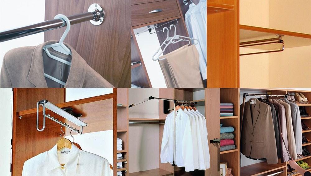 Металлическая штанга для одежды в шкаф.